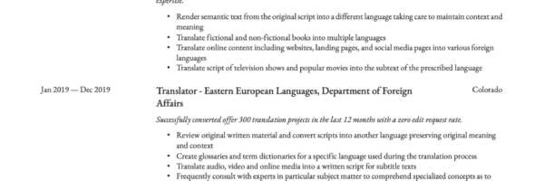 Translator Resume Writing Guide 12 Templates 2020