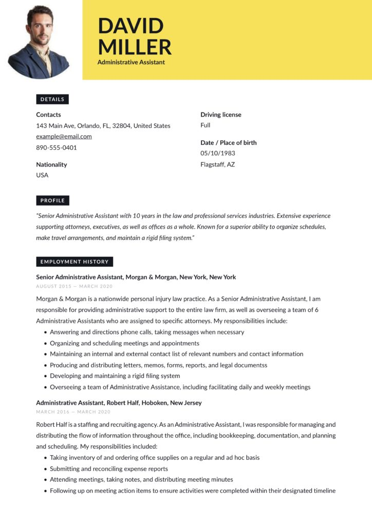 administrative assistant resume yellow