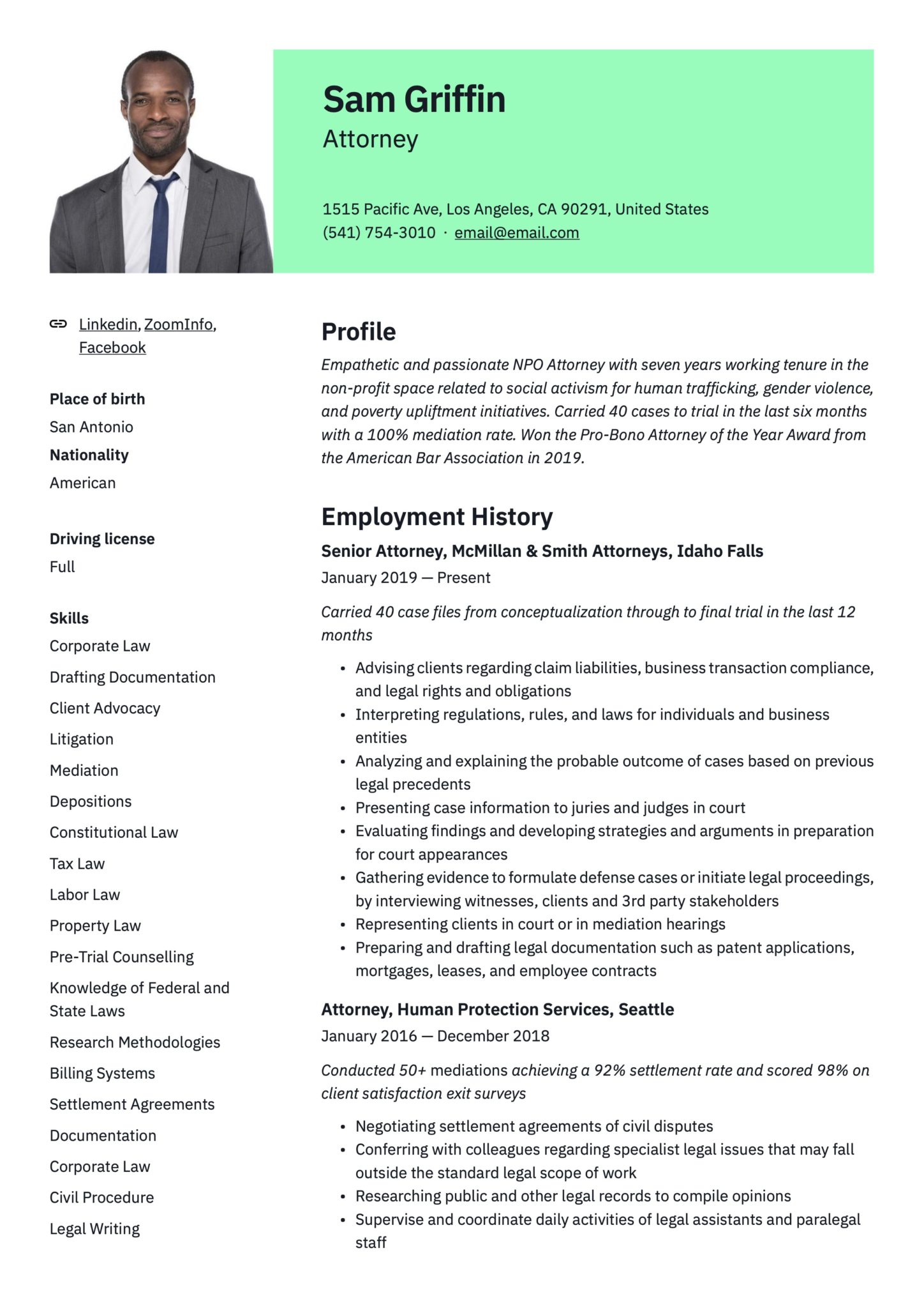 18 attorney resume examples  writing guide  pdf's  word