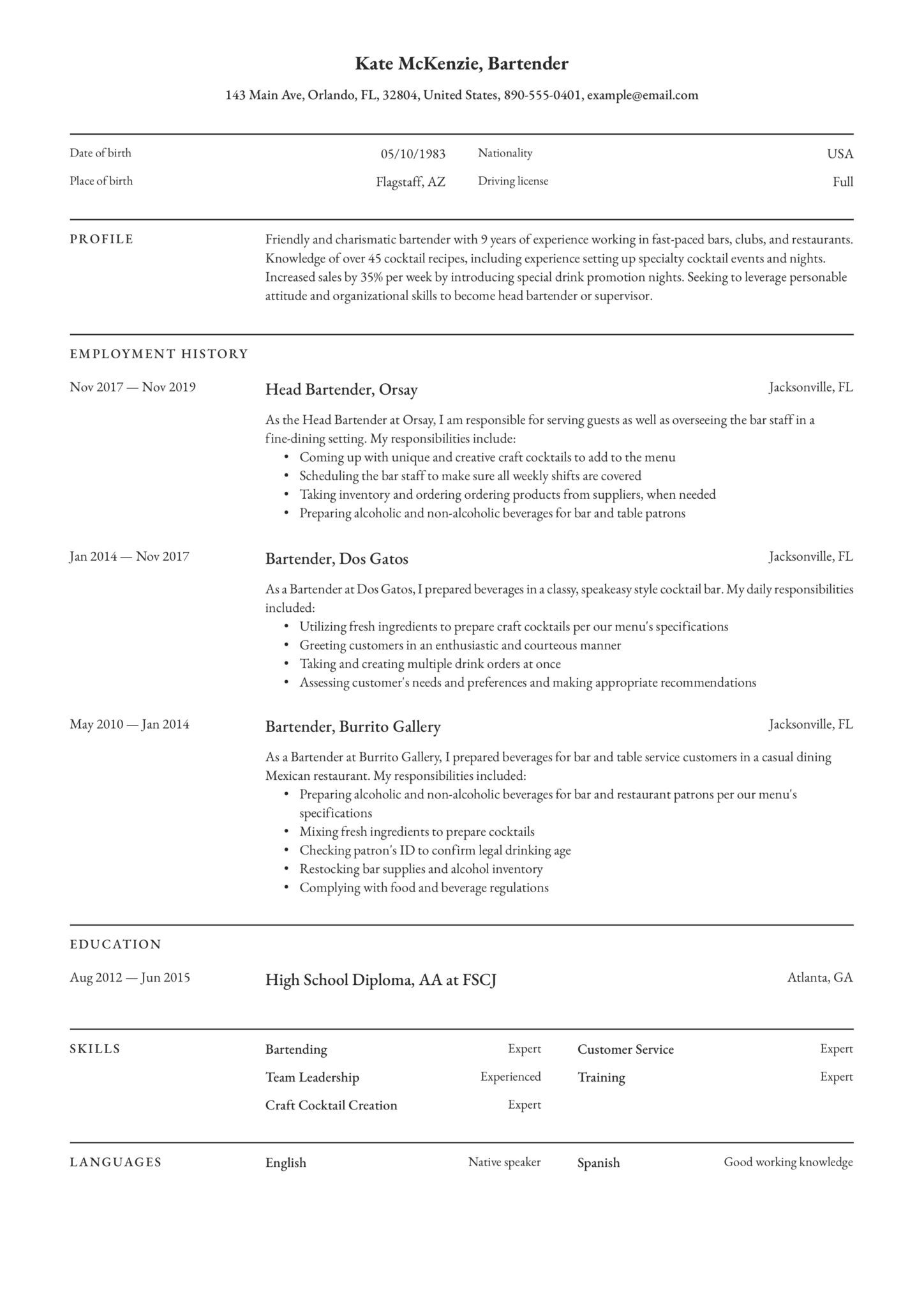 Bartender Resume Guide 12 Example Downloads Pdf Word 2020