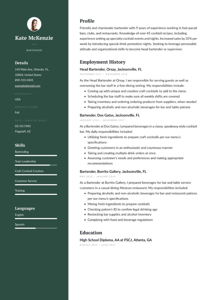 green bartender resume