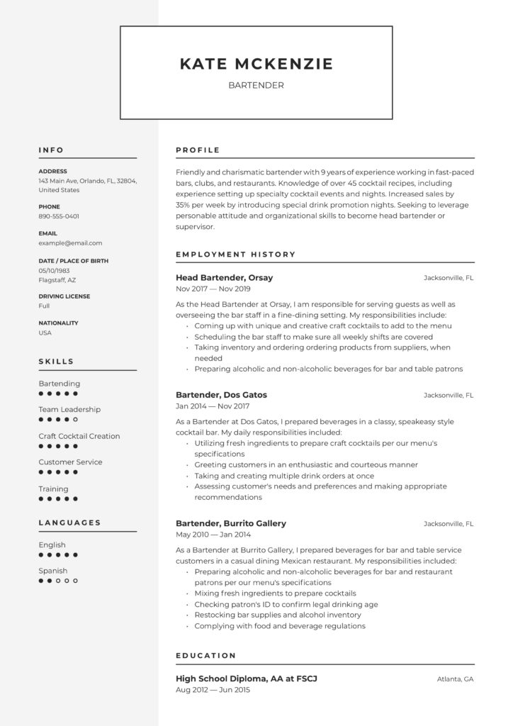modern two tone design bartender cv