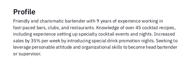Example Summary Statement Bartender