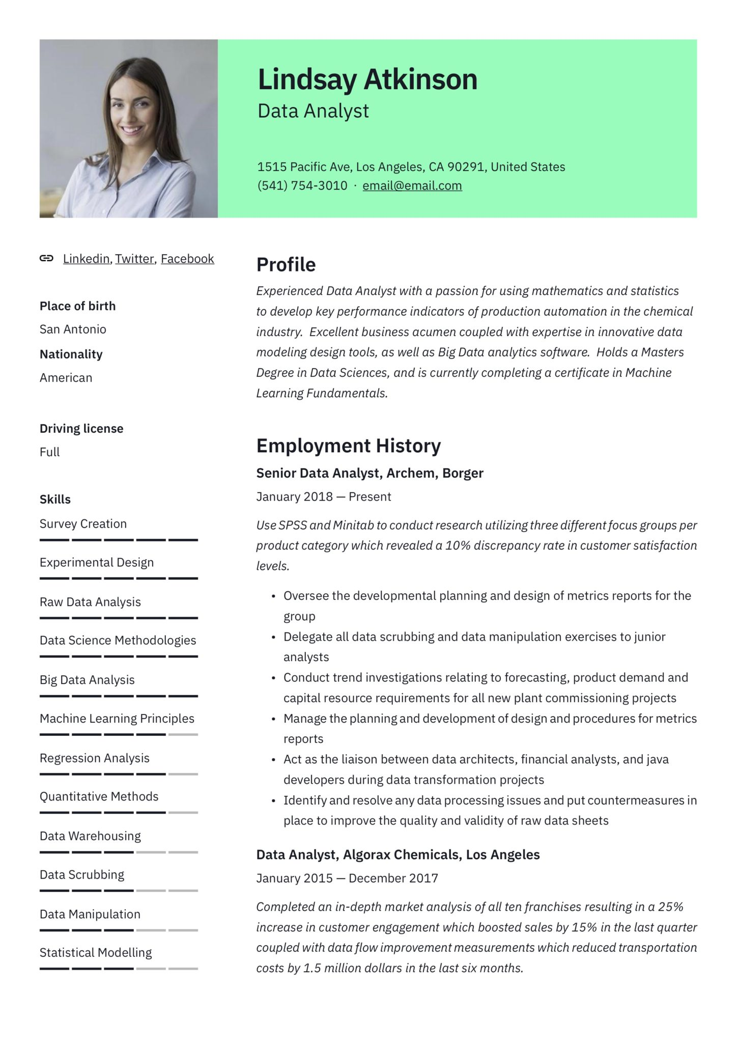business analyst example resume green with photo
