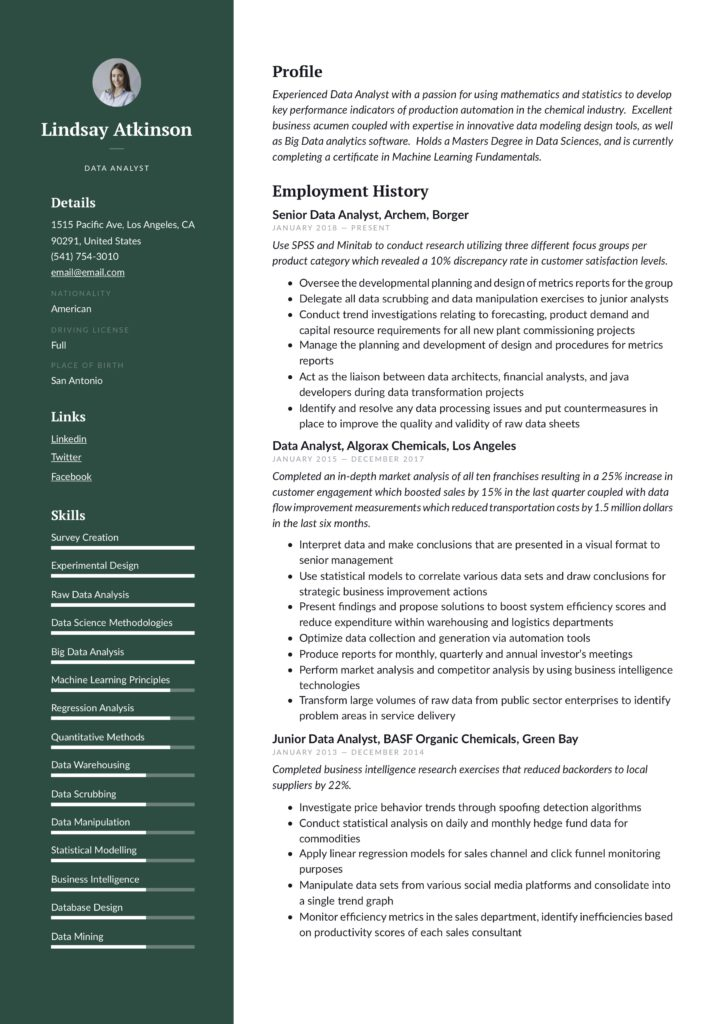 modern green colored business analyst resume example