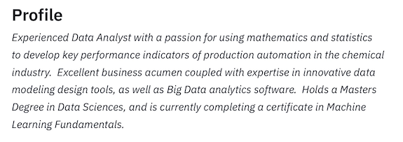 Summary Statement Data Analyst