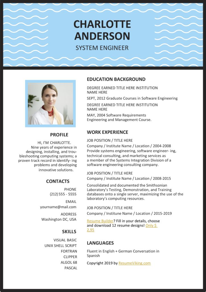 Blue Word Resume Creative