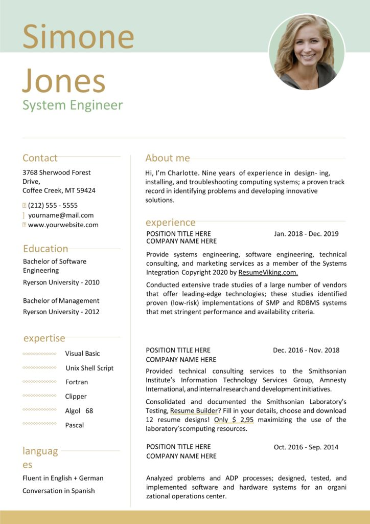 mint colored word resume
