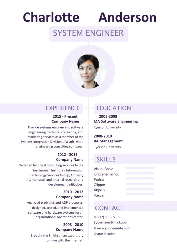 Ms word pruple resume template