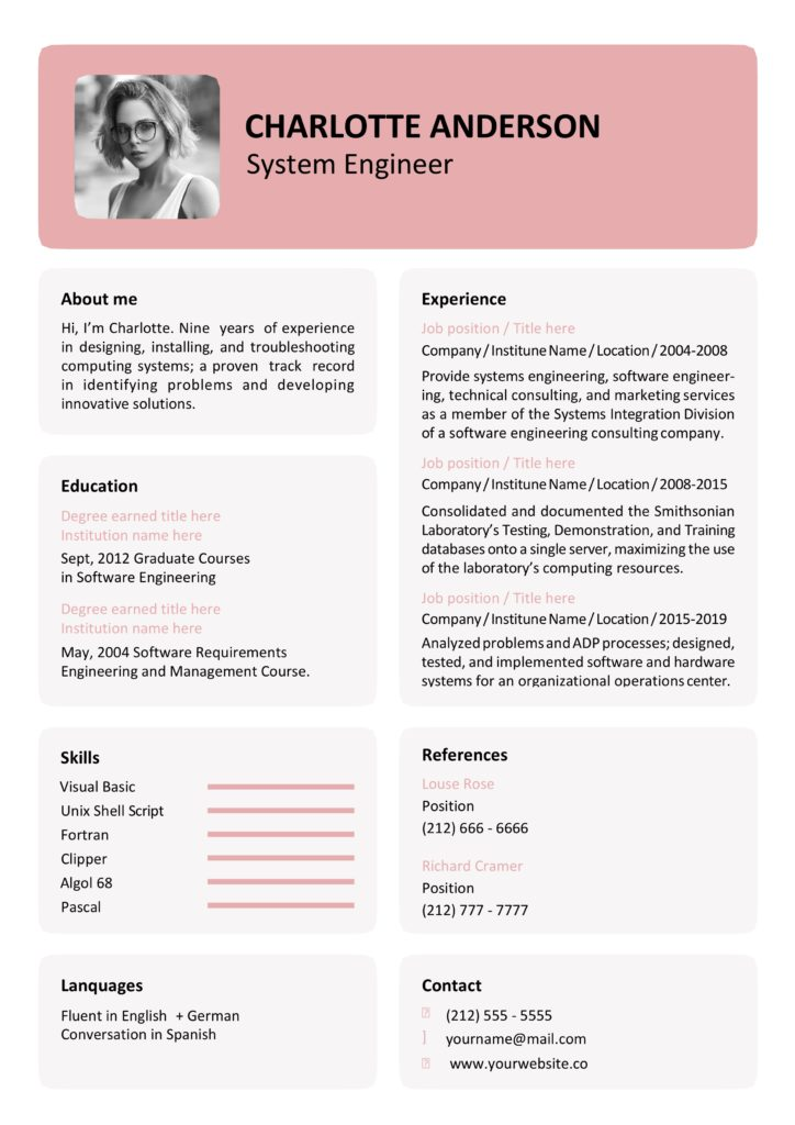 rose word resume template