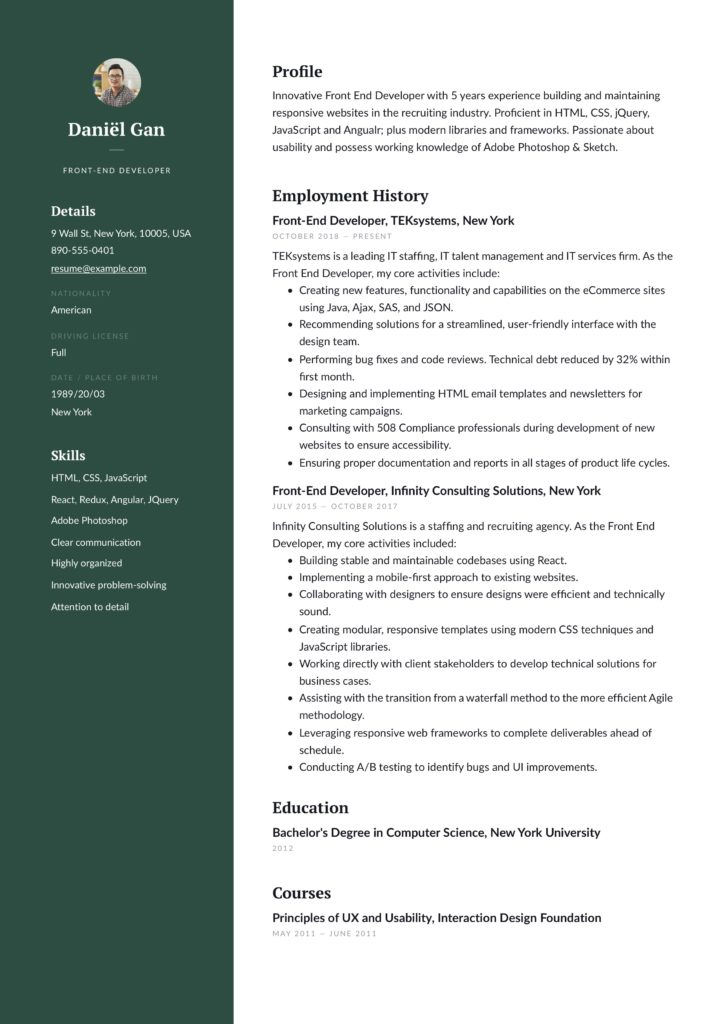 green modern resume template front-end developer