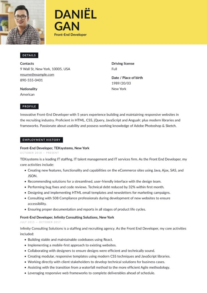 modern yellow front-end developer resume