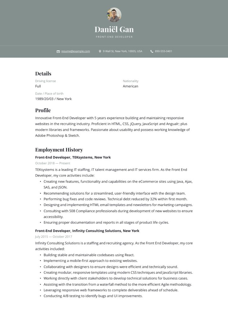 modern green resume example front-end developer