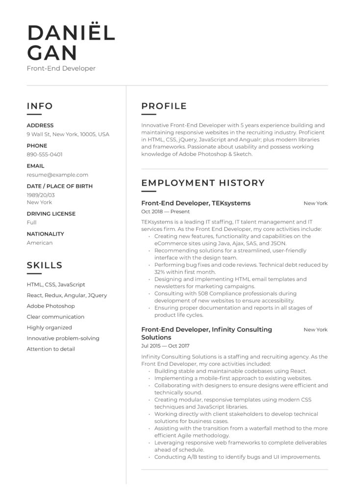 modern black and white resume example front-end developer