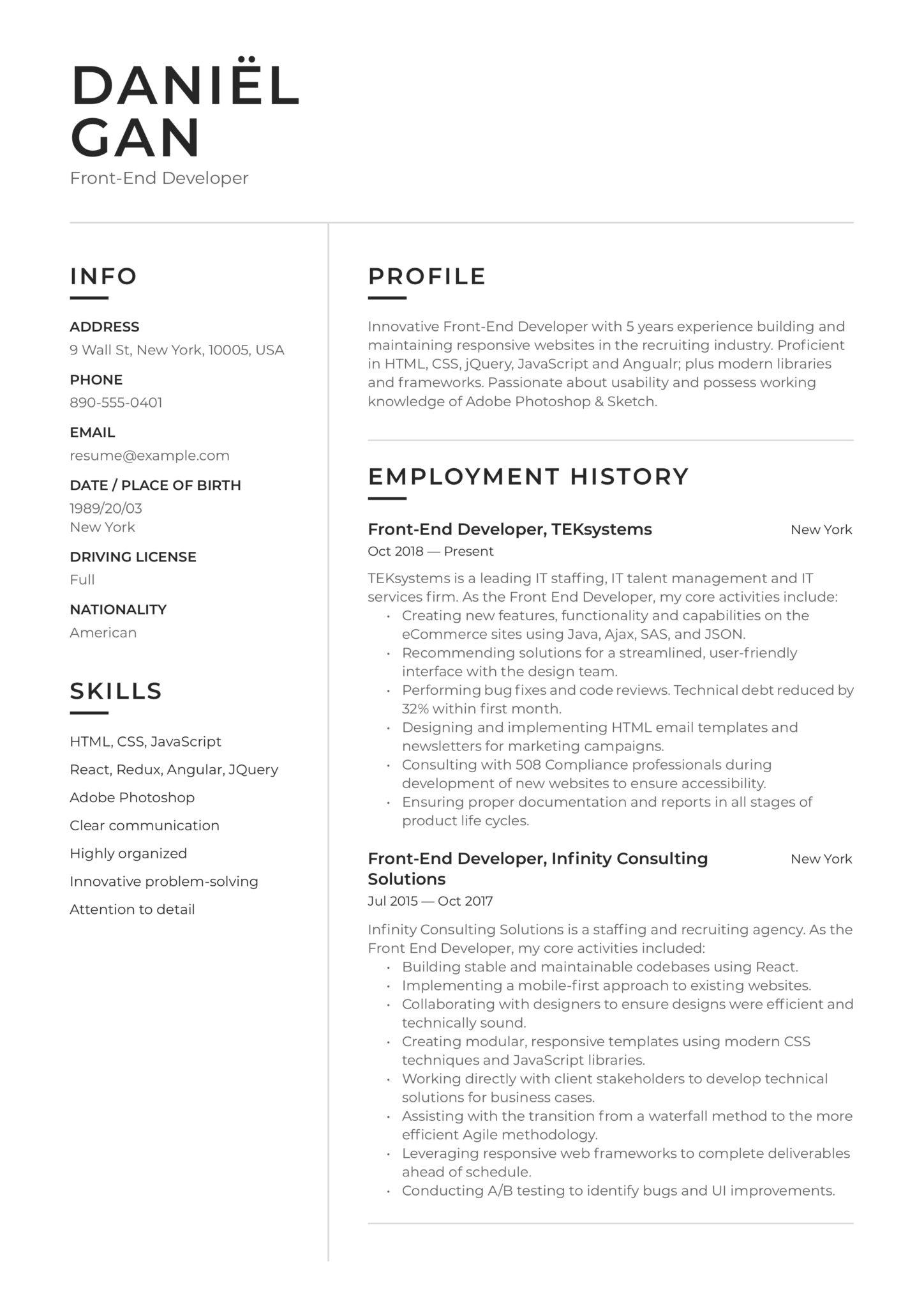 20 Front End Developer Resume Examples Guide Pdf 2020