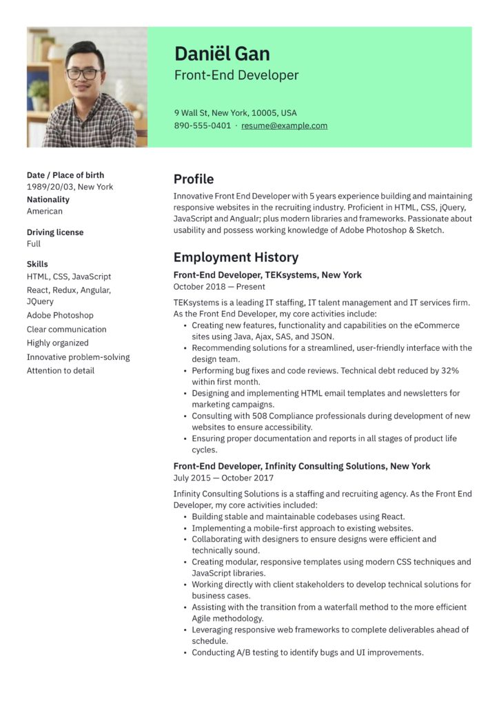 bright green resume example front-end developer