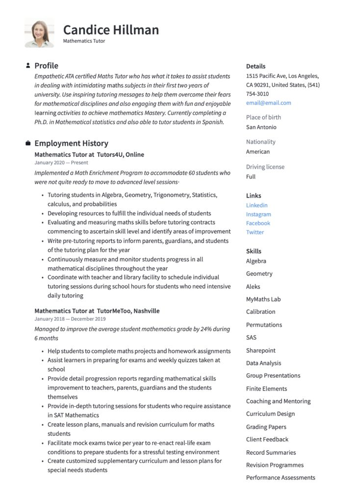 Resume Sample Mathematics Tutor
