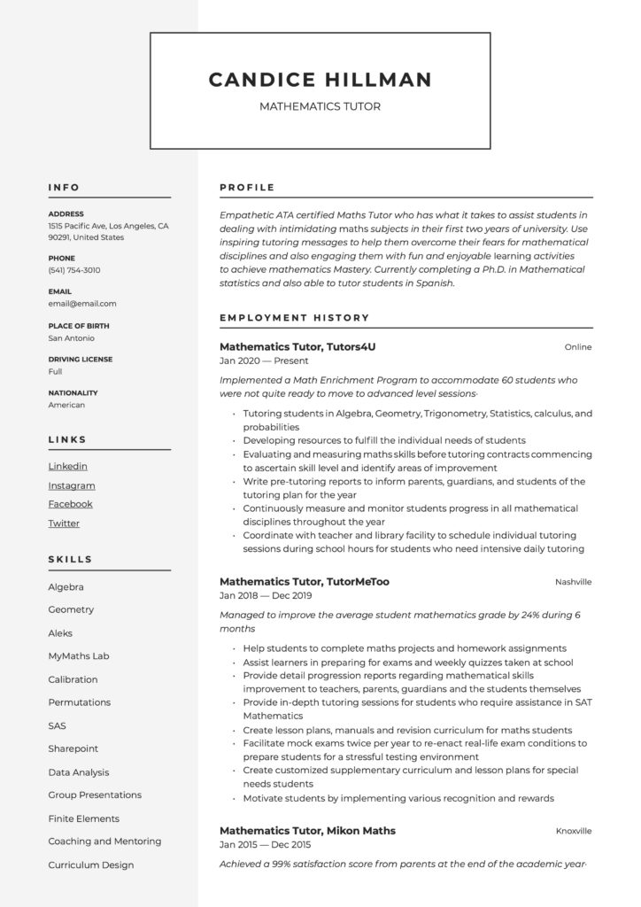 Resume Template Mathematics Tutor