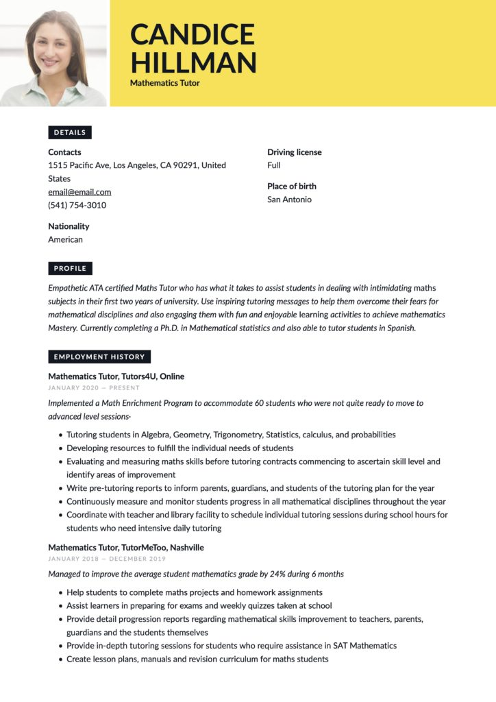 Resume Example Mathematics Tutor