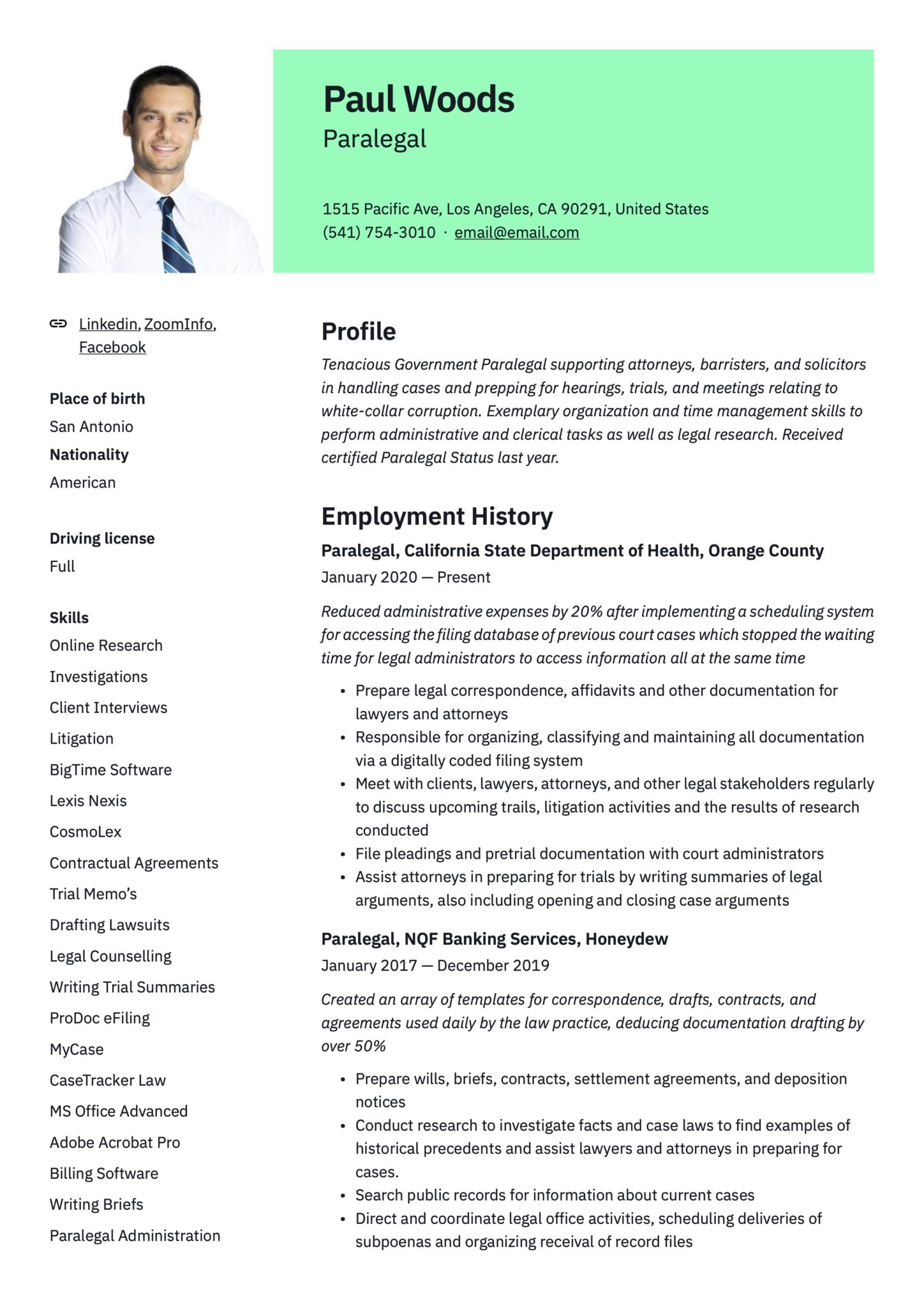 19 Paralegal Resume Examples Guide Pdf 2020 Free