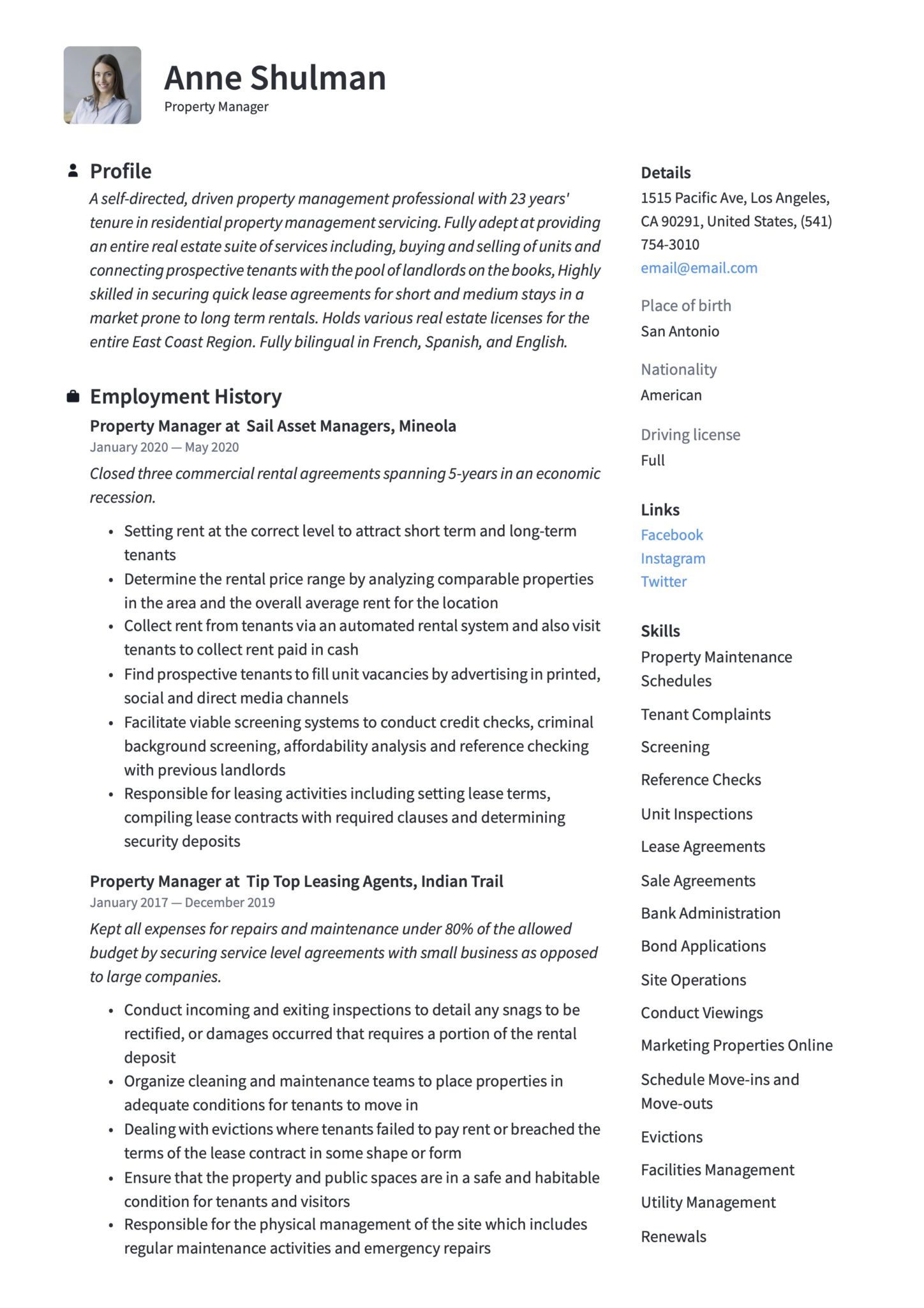 Property Manager Resume Writing Guide 18 Templates 2020