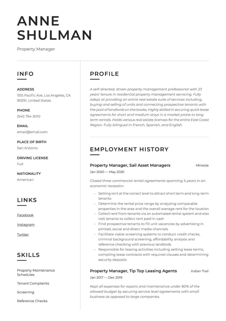 Resume Template Property Manager