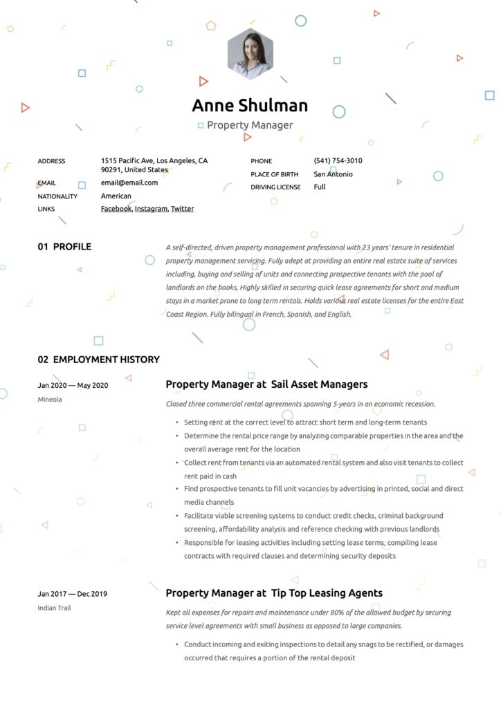 Resume Example Property Manager