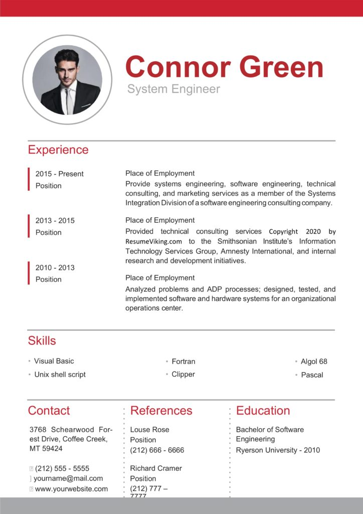 red formal word resume design
