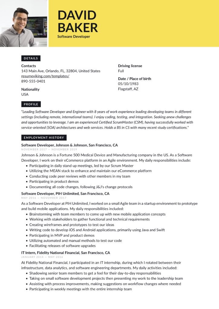 Guide Software Developer Resume 19 Examples Word