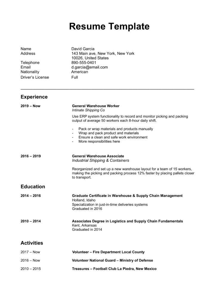 Chronological word resume doc