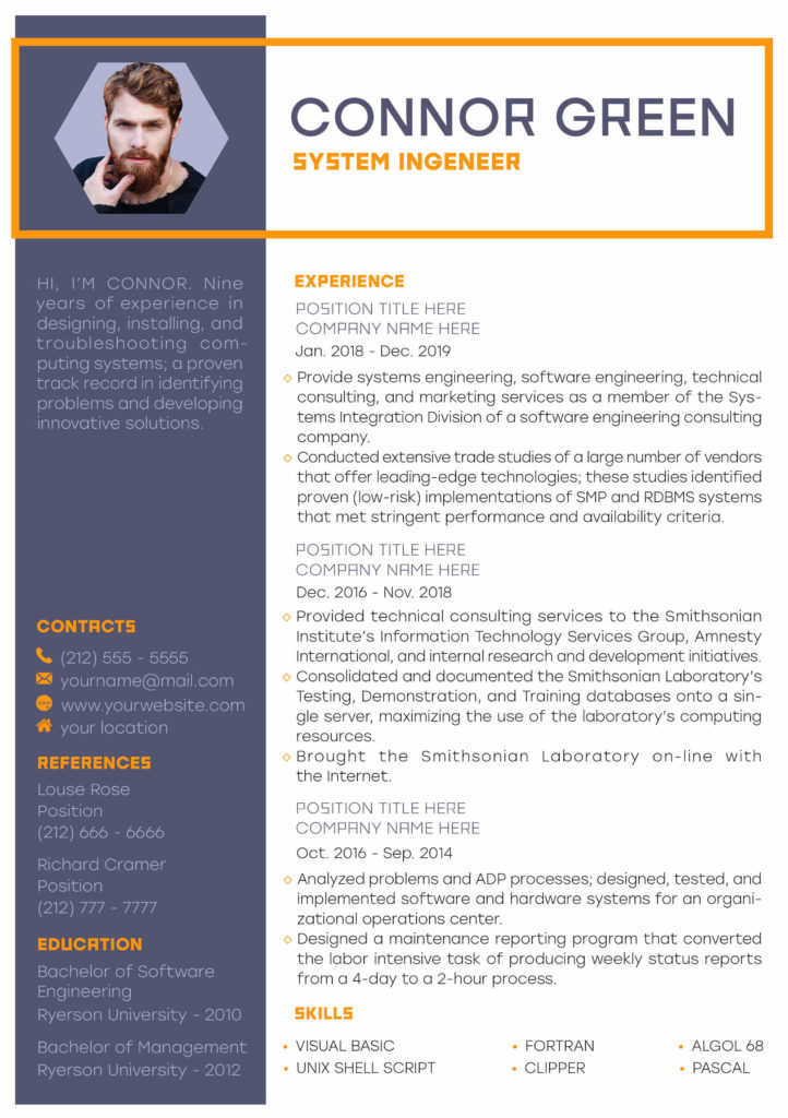 Orange retro resume