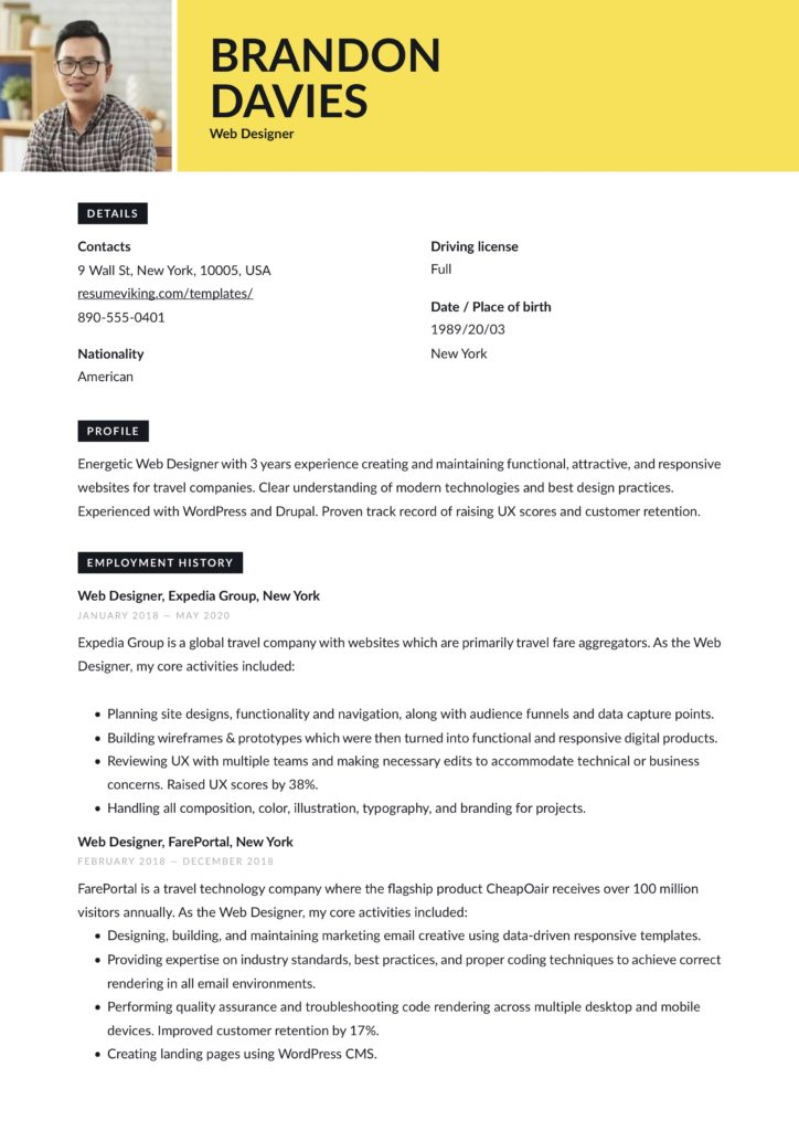 resume tool resume example for web designer yellow color