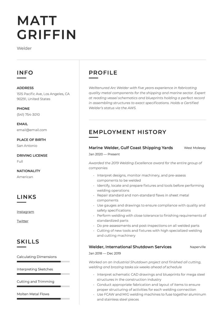 Resume Template Welder