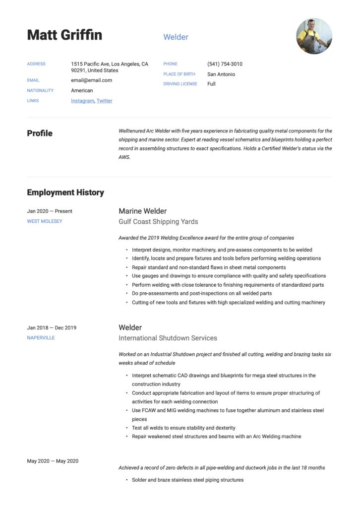 Resume Sample Welder