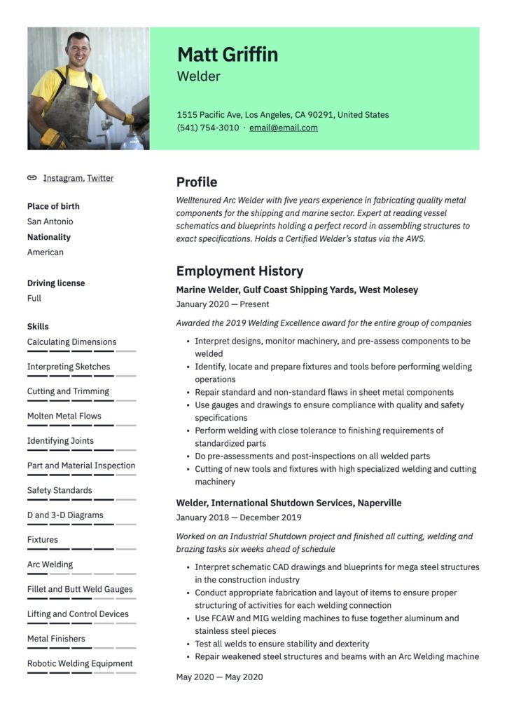 Resume Example Welder
