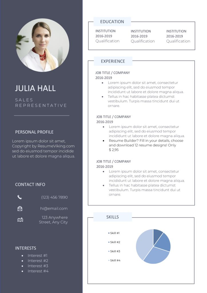 modern resume dark light colours with option photo and pie chart