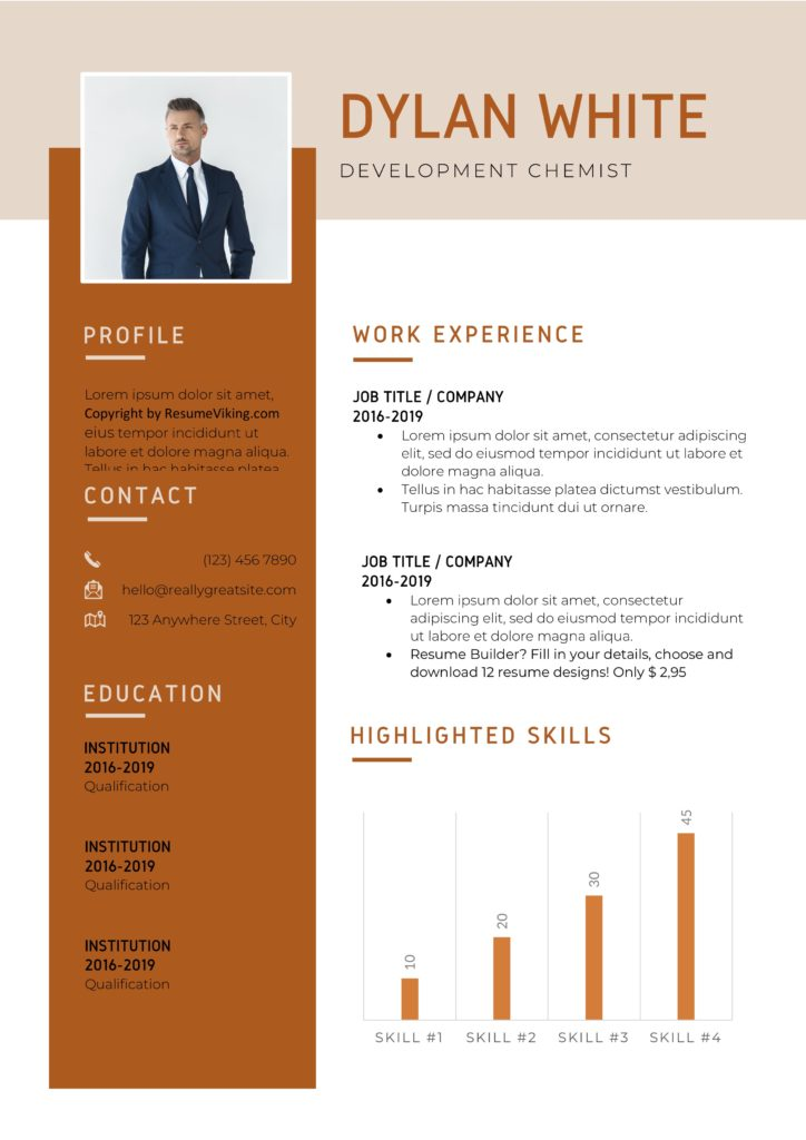 orange coloured modern resume