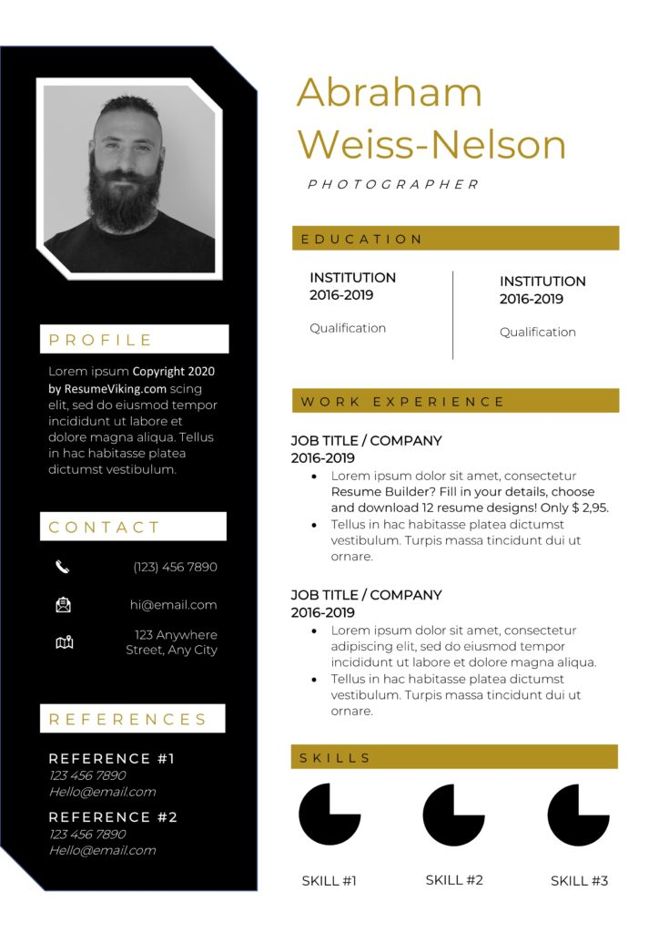 creative word resume black gold