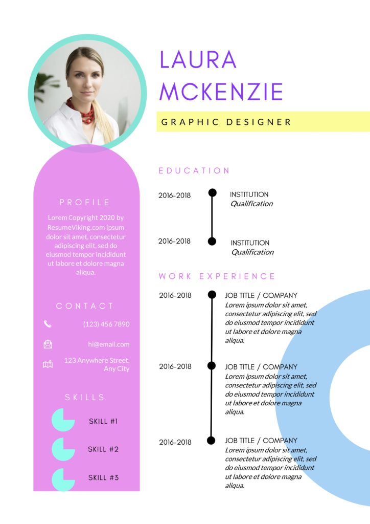 retro coloured word resume with photo and timeline