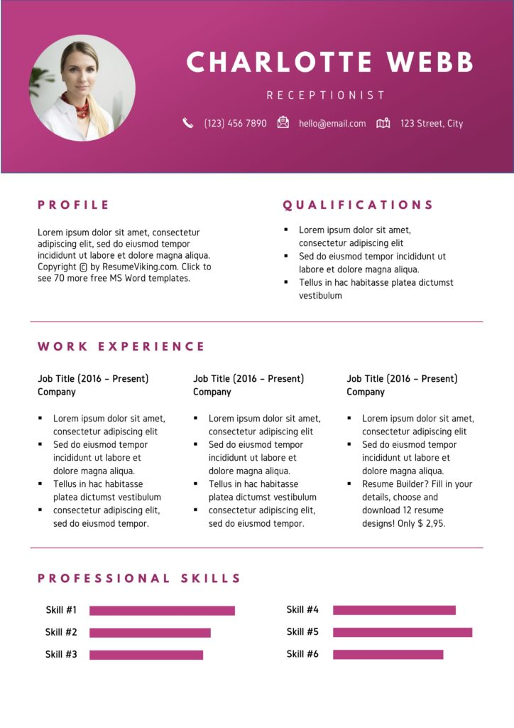 pink red modern word resume template with skills visuals