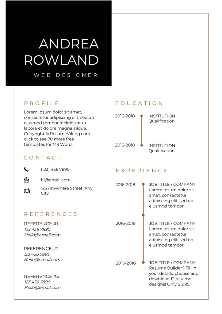 modern minimal MS Word resume for designers