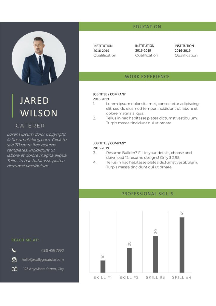 green black resume