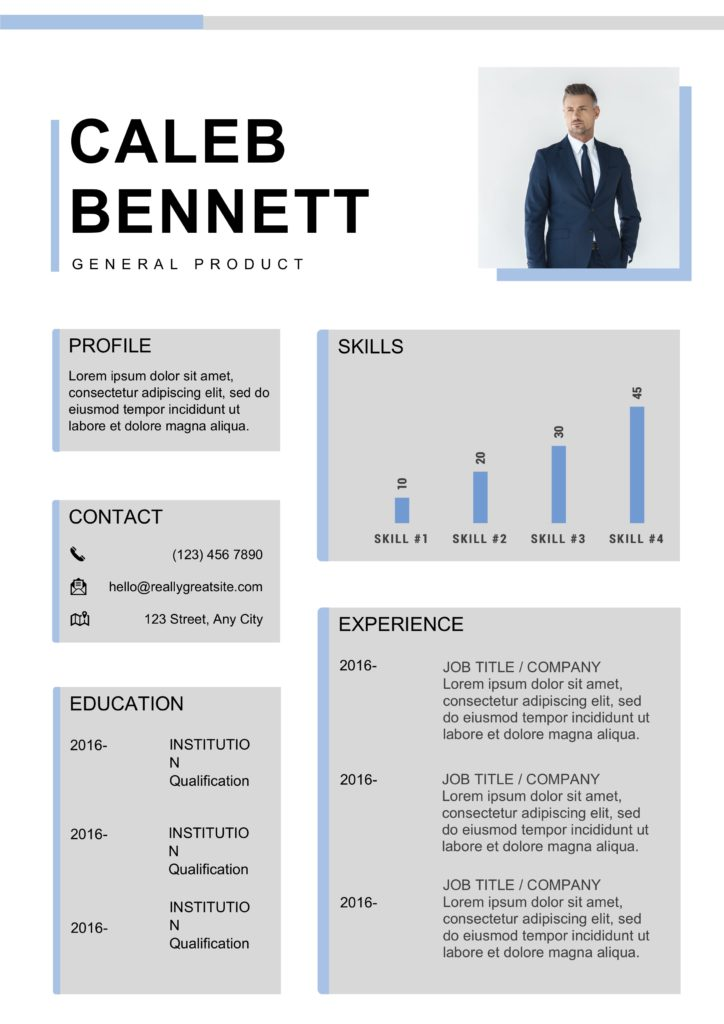 blue grey resume with photo and bars