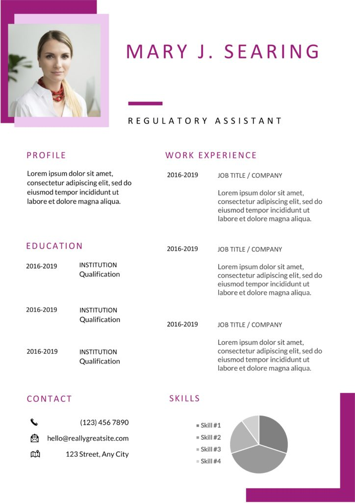 pink red and white modern resume with photo word docx