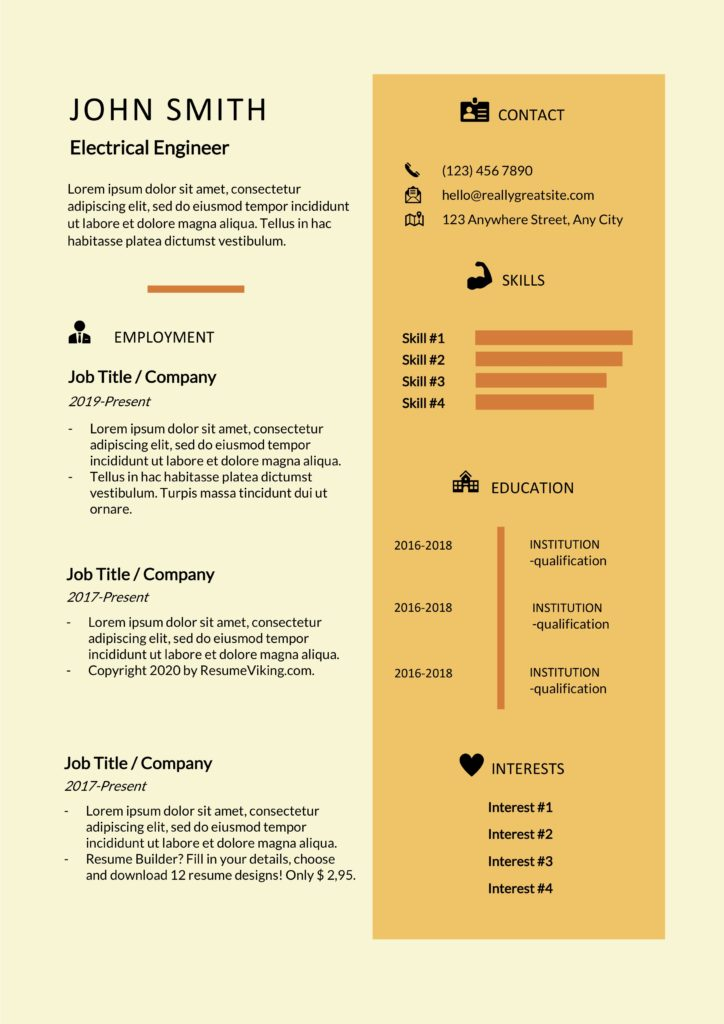 free creative word resume