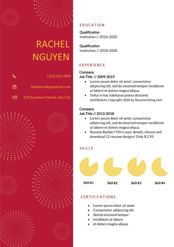 red white word resume template