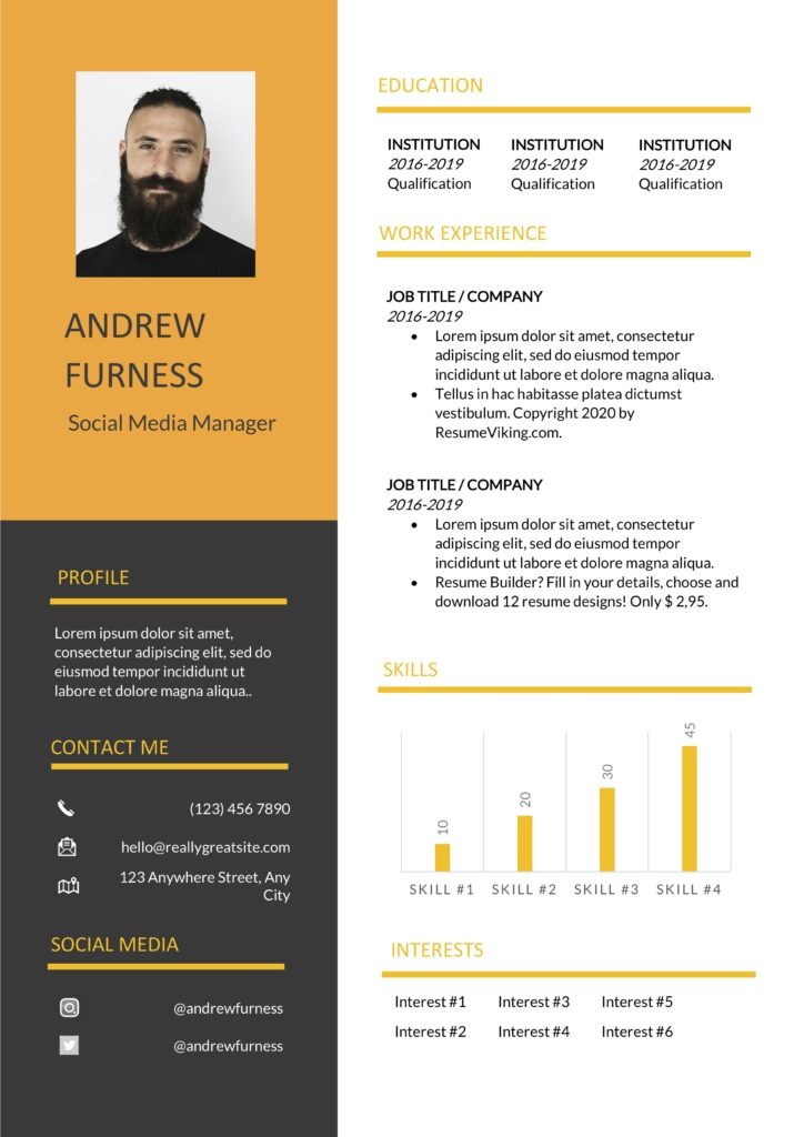 orange black resume template