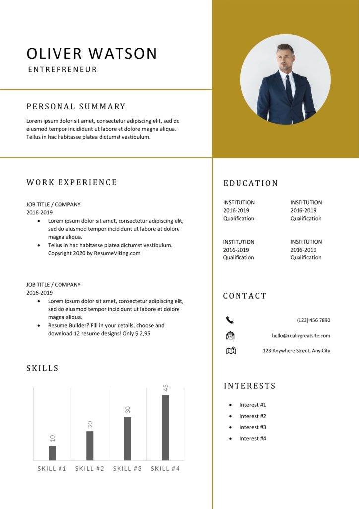 modern word resume template with graph bars and photo