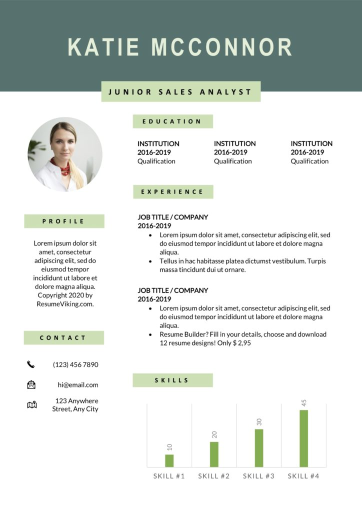 modern word resume with photo and graph bars green