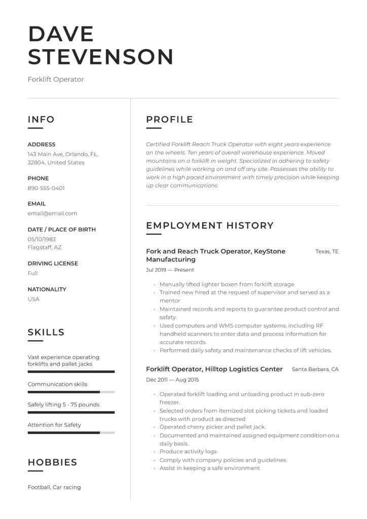 resume forklift operator  writing guide  17 examples